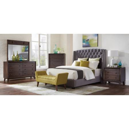 300515KW-S4 4PC SETS C. King BED + Dresser + Nightstand + Mirror