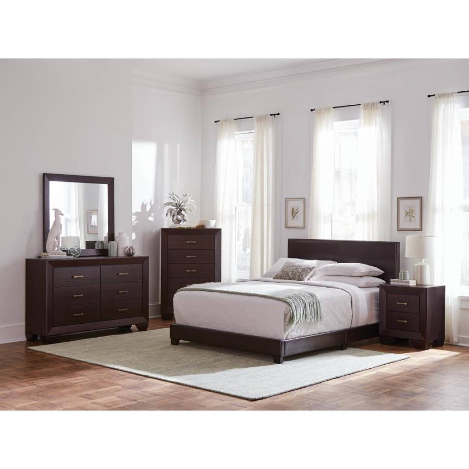 300762kw S4 4pc Sets Cal King Bed Dresser Mirror Nightstand