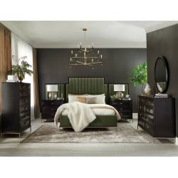 222821KW-S5 5PC SETS Formosa California King Upholstered Bed + Oval Nightstand + Dresser + Mirror + Chest