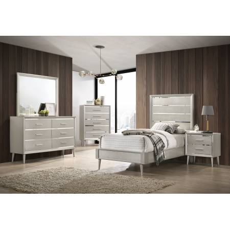 222701T-S5 5PC SETS Ramon Twin Panel Bed + Nightstand + Dresser + Mirror + Chest