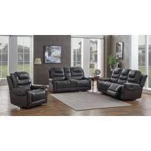 650407PP-S3 3PC SETS SOFA + LOVESEAT + RECLINER Grey