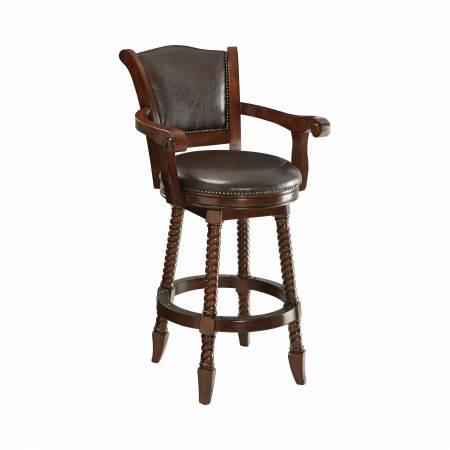 100679 Swivel Upholstered Bar Stool Brown