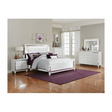 1845LED-1*4 4PC SETS Queen Bed + NS + D + M