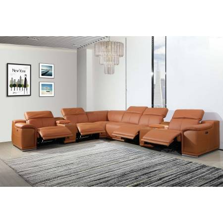 9762 - Camel 4-Power Reclining 8PC Sectional /w 2-Consoles