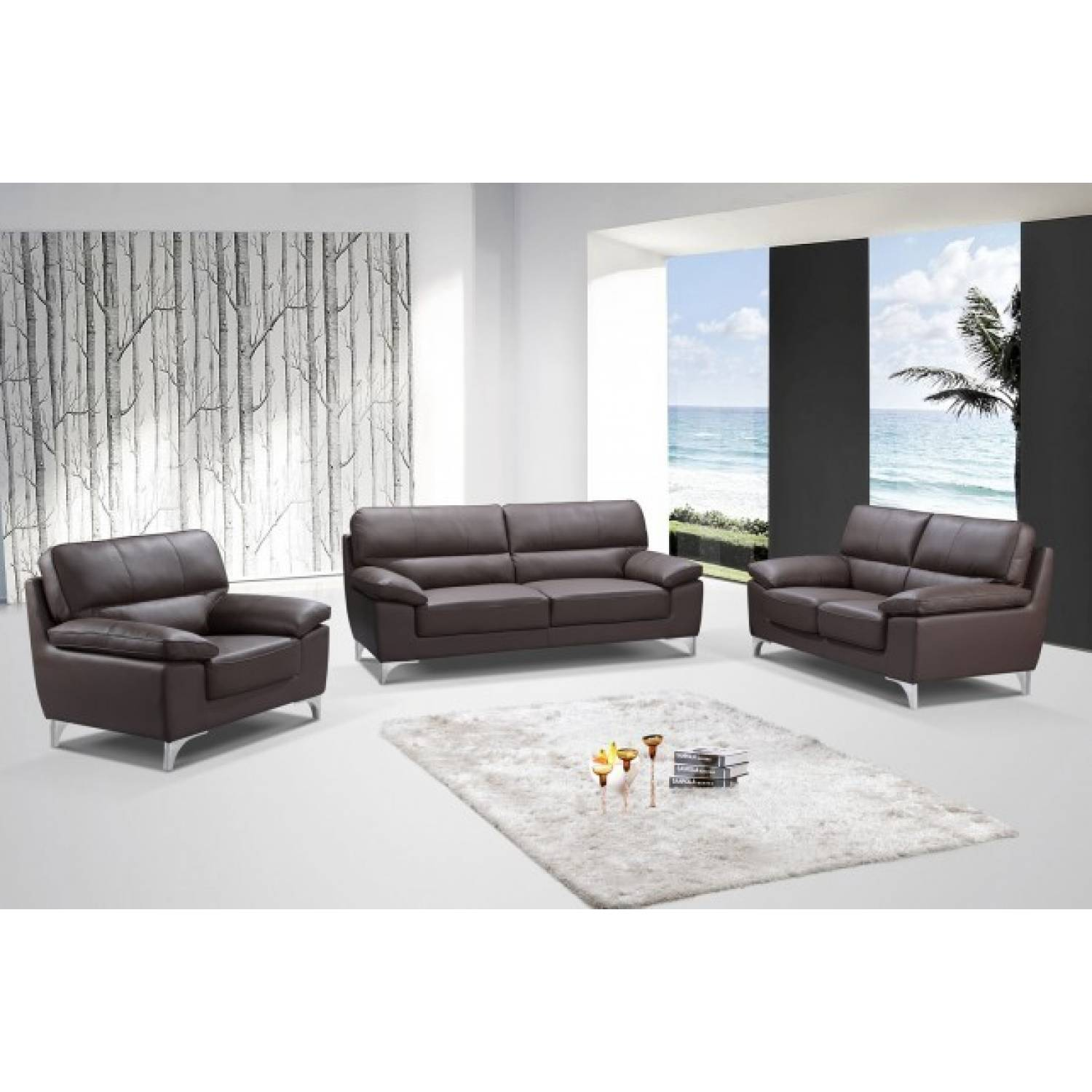 9436 Brown 2pc Sets Sofa Loveseat