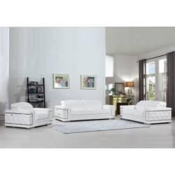 692 - White 2pc sets Sofa + Loveseat
