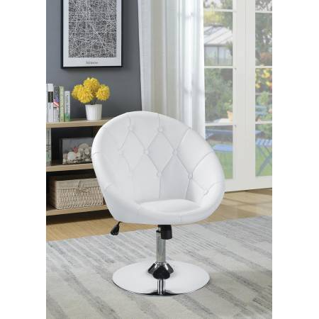 102583 Round Tufted Swivel Chair White And Chrome