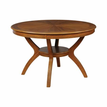 102171 Nelms Dining Table With Shelf Deep Brown