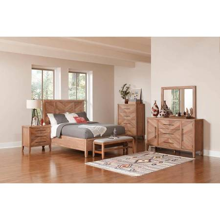 223241KW-4PC 4PC SETS CAL KING BED + NIGHTSTAND + DRESSER + MIRROR