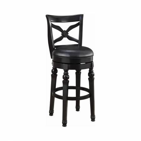 100279 Upholstered Swivel Bar Stool Black