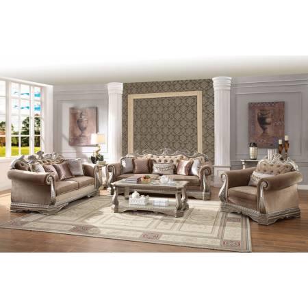 56930+56931+56932 3PC SETS Northville Tan Velvet 2-Seat Sofa + Loveseat + Chair