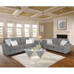 55155+55156 2PC SETS Karenza Gray Fabric 2-Seat Sofa + Loveseat
