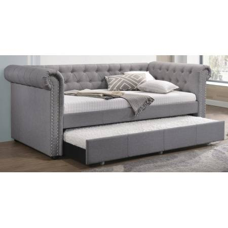 39405 Justice Smoke Gray Fabric Twin Daybed w/Trundle