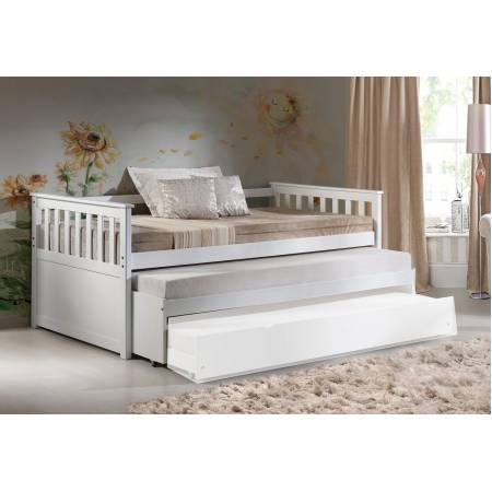 39080+39083 Cominia White Wood Twin Daybed with 2 Trundles