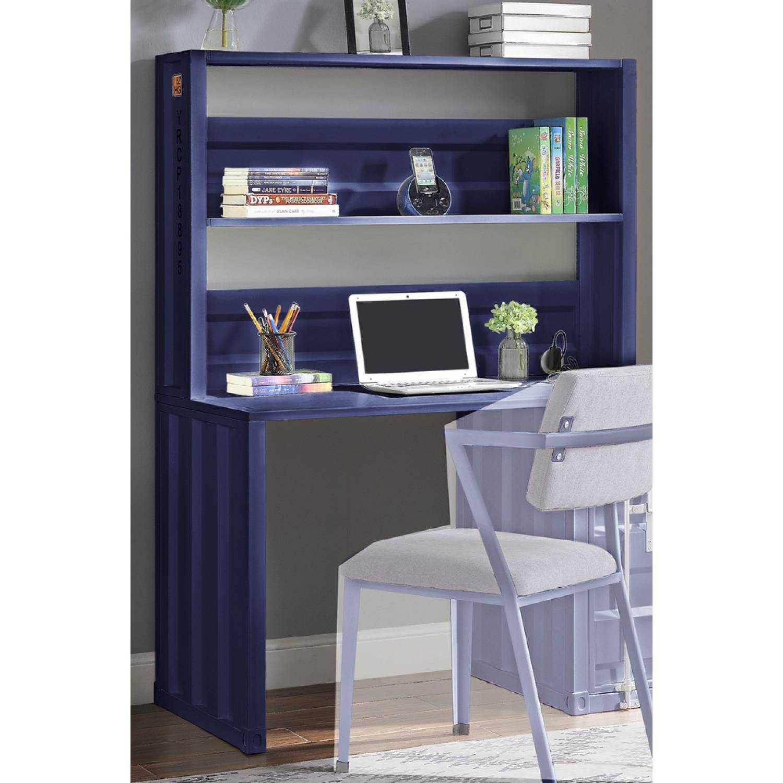 - 37907 Cargo Blue Finish Metal Computer Desk & Hutch