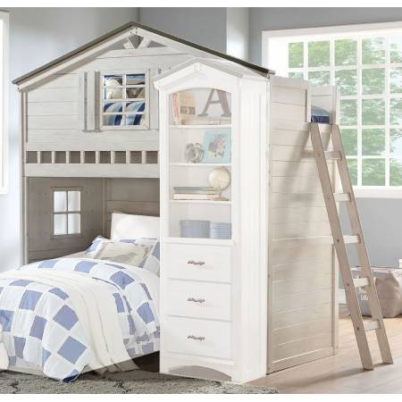 37165 Tree House Weathered White/Washed Gray Wood Twin Loft Bed