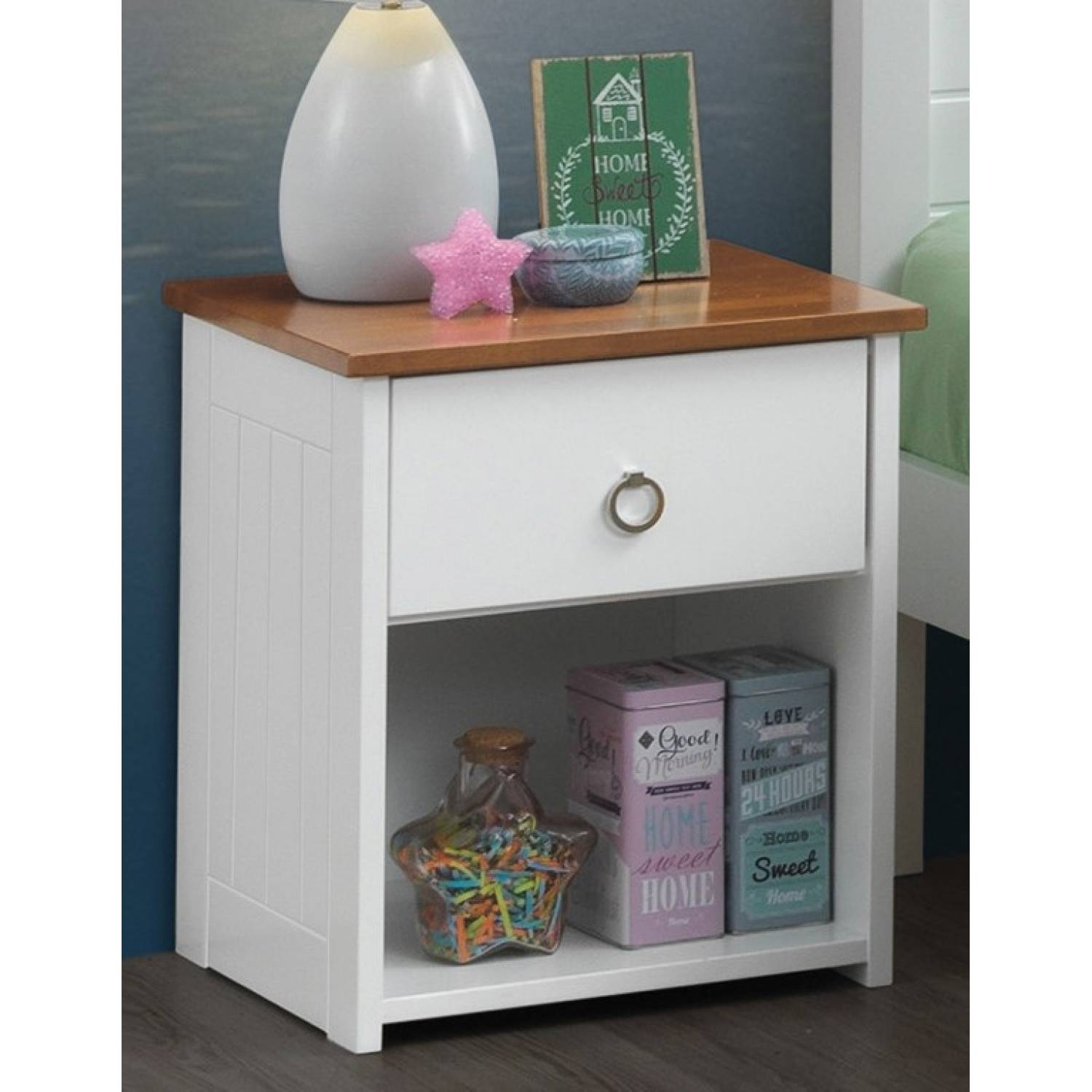 30833 Farah White Oak Wood Nightstand W Drawer Lower Shelf