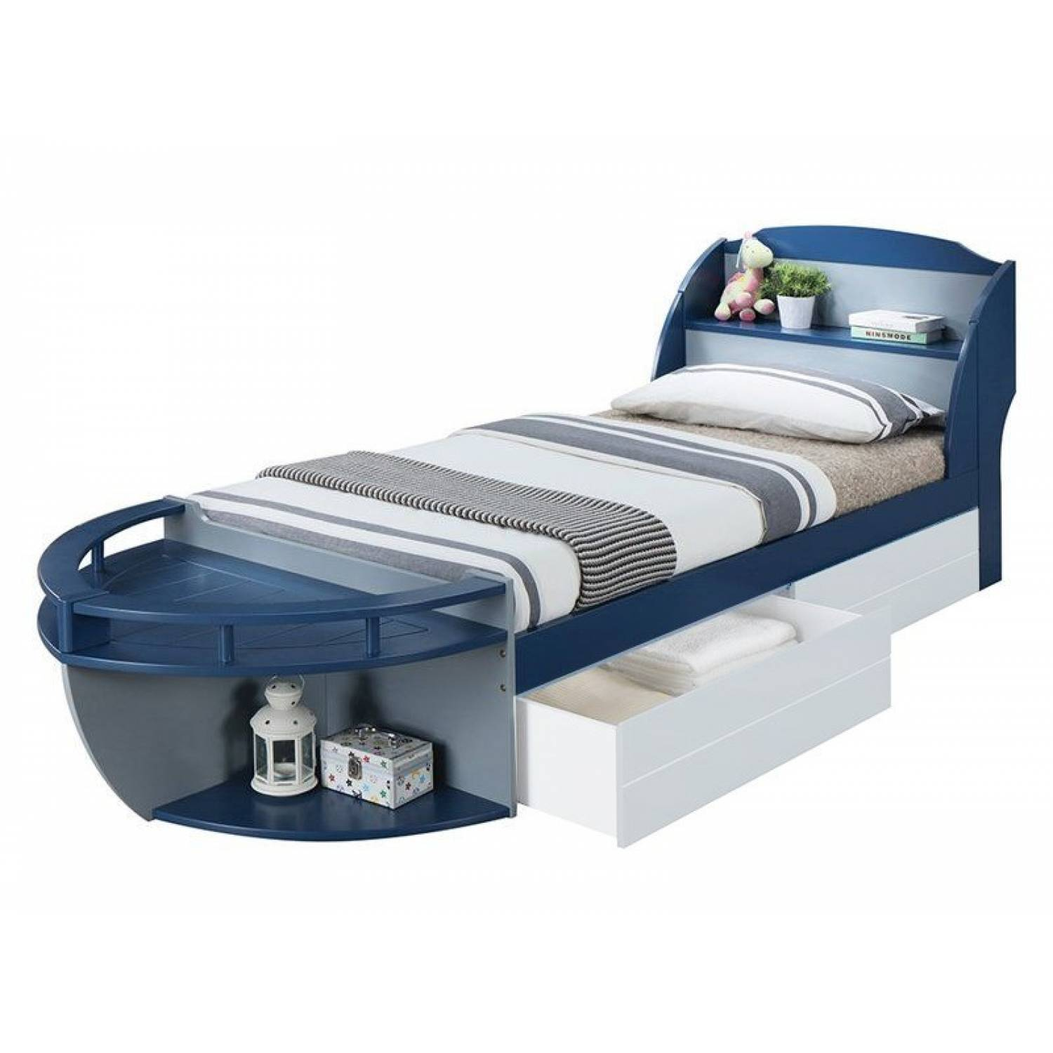30620t Neptune Ii Navy Gray Wood Twin Bed With Storage Headboard