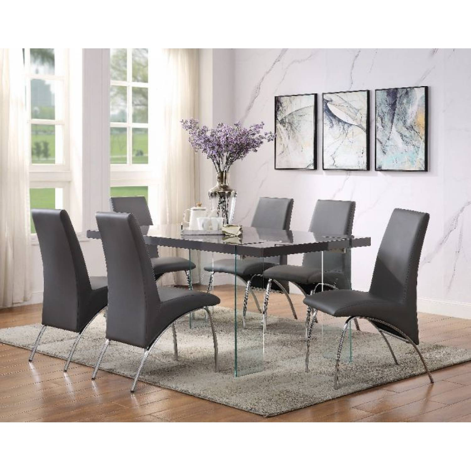 Noland Dining Table In Gray High Gloss Clear Glass Acme Furniture 72190