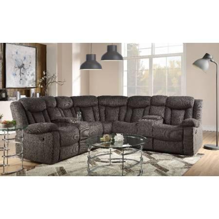 Rylan Sectional Sofa in Dark Brown Fabric - Acme Furniture 54965
