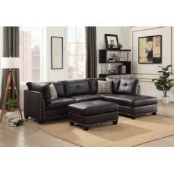 Laurissa Sectional Sofa & Ottoman (2 Pillows) in Ebony PU