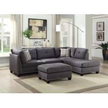 Laurissa Sectional Sofa & Ottoman (2 Pillows) in Light Charcoal Linen