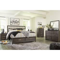 B497 Brueban 4PC SETS King UPH Panel Storage Bed