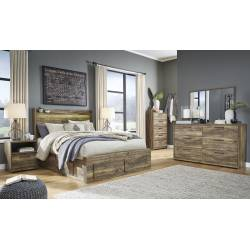 B322 Rusthaven 4PC SETS Queen Panel Under Bed Storage + Roll Slats + Dresser + Mirror + Night Stand