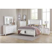 1616W-1Gr Queen King Platform with LED Lighting and Footboard Storage Bedroom 4PC Set Tamsin