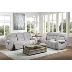 9519GY-2+3 Double Reclining Love Seat with Console and Double Reclining Sofa Aragon