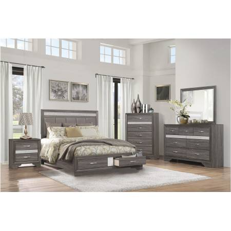 1505K-1EK Eastern King Platform Bed with Footboard Drawers Luster