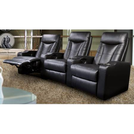 600130-4 Pavillion Black Leather Four-Seated Recliner