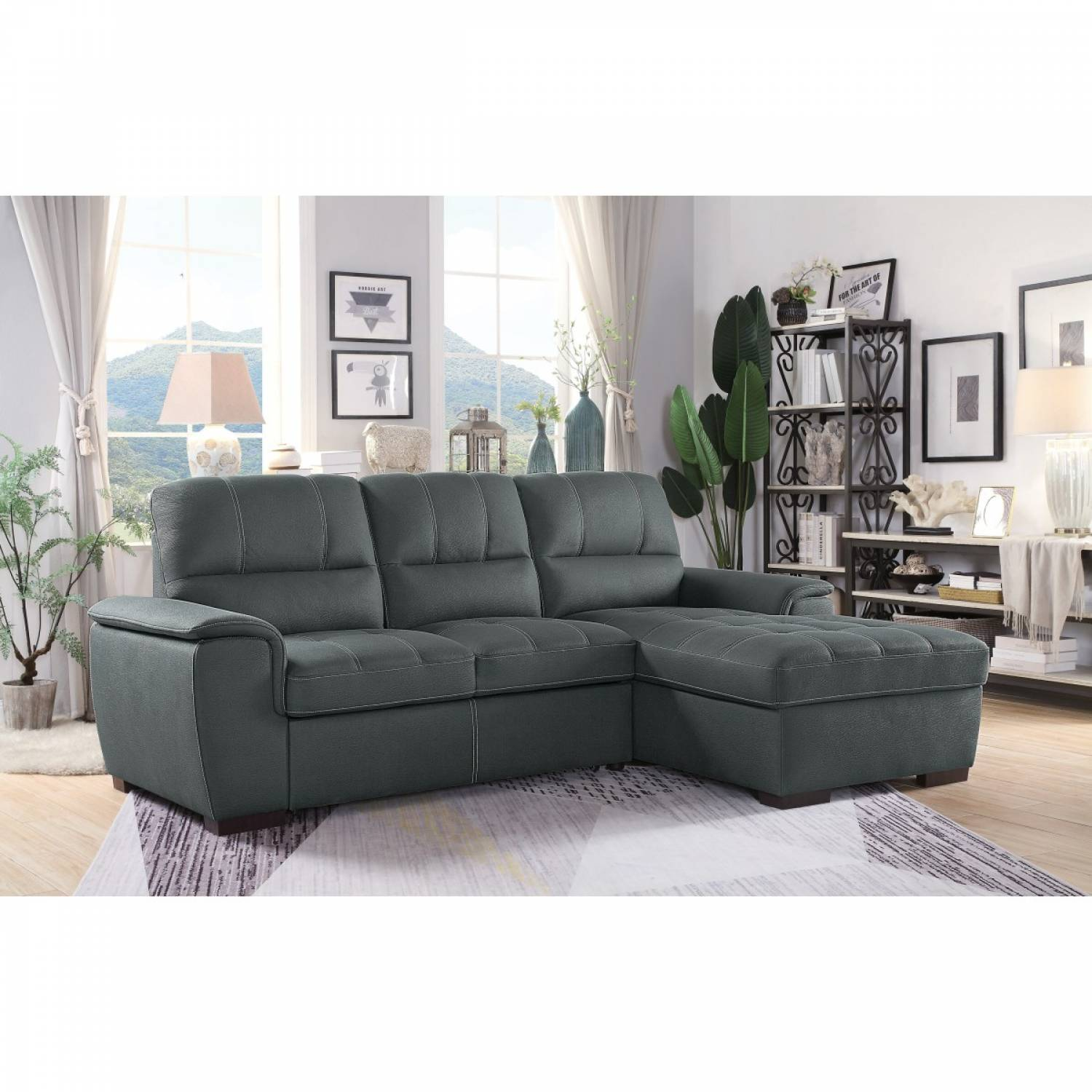 Picture of: 9858gy Sc 2 Piece Sectional With Pull Out Bed And Hidden Storage Andes