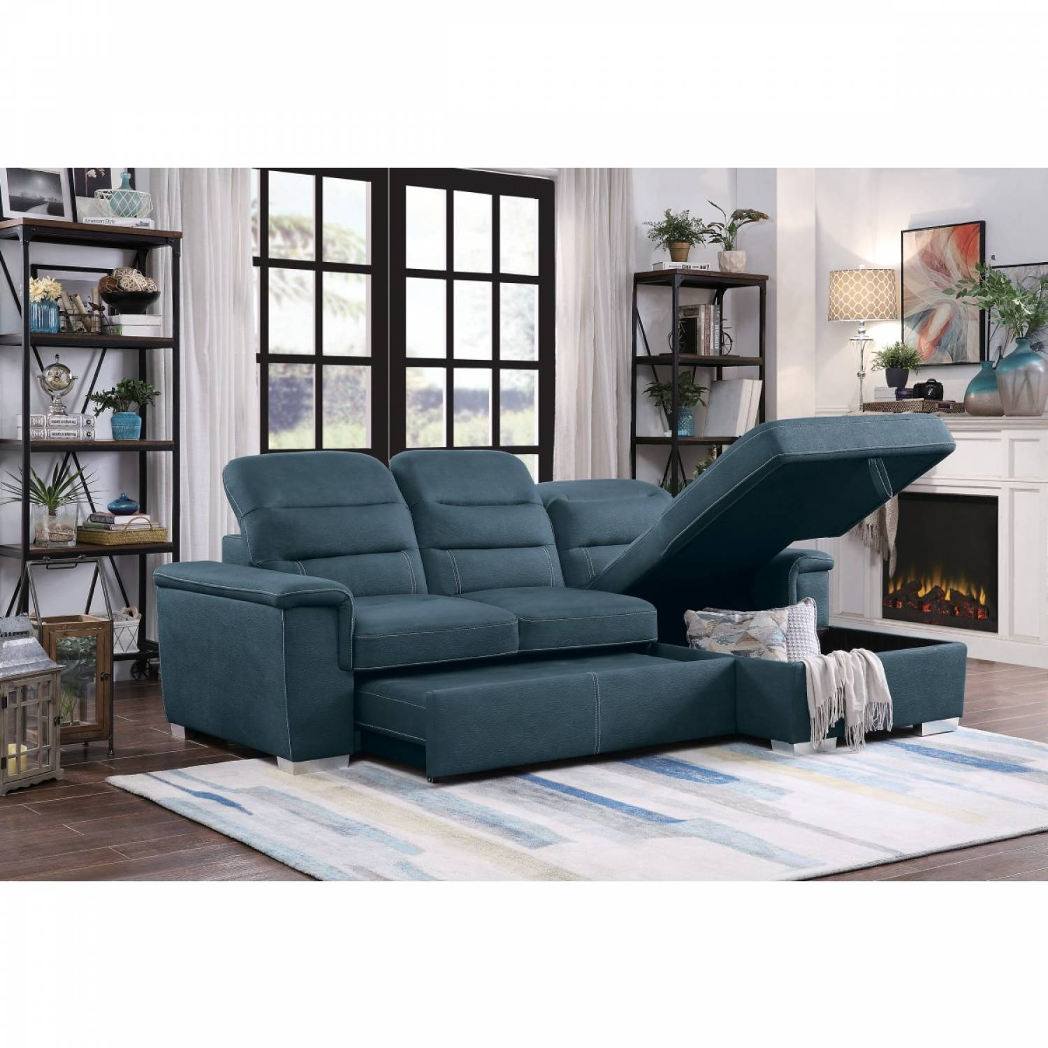 Picture of: 9808bue Sc 2 Piece Sectional With Pull Out Bed And Hidden Storage Alfio