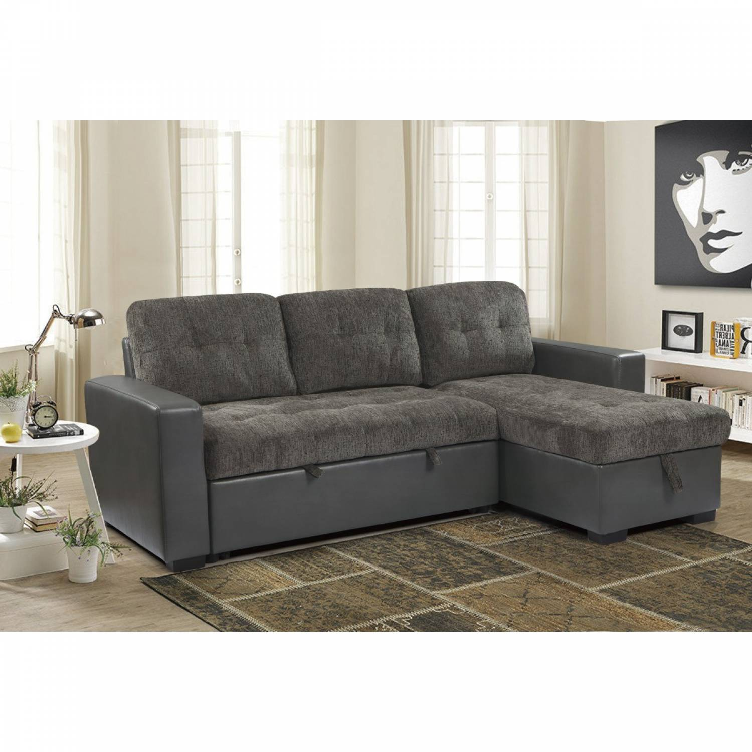 9540GYSC 2 Piece Reversible Sectional with Pull out Bed ...