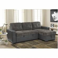 9540GY*SC 2-Piece Reversible Sectional with Pull-out Bed and Hidden Storage Swallowtai