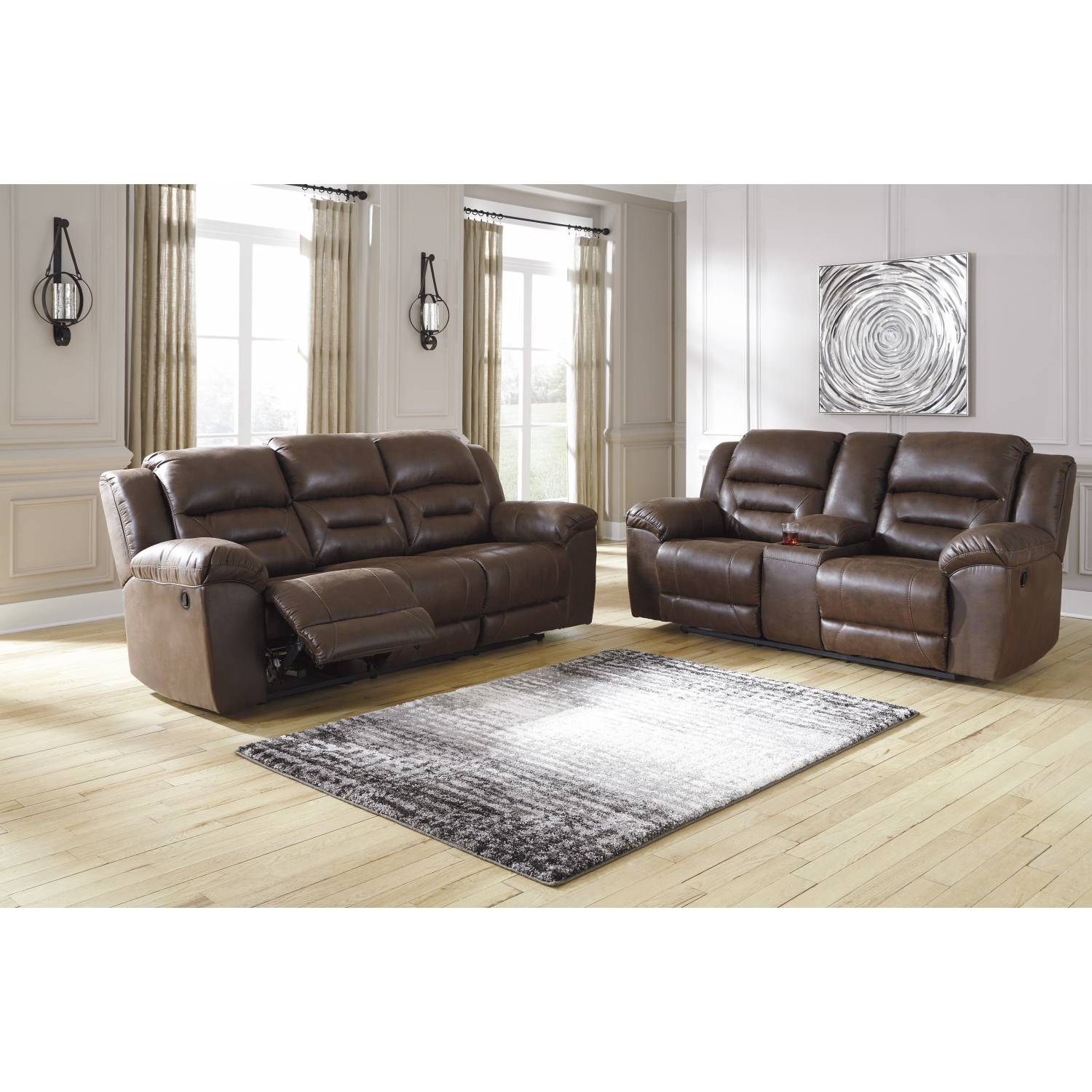 39904 Stoneland 2PC SETS Reclining Sofa + DBL Rec Loveseat w/Console