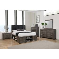 205470KE-S5 5PC SETS Eastern King Bed + Nightstand + Dresser + Mirror + Chest