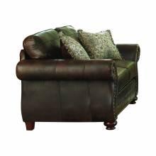 508892 Graceville Upholstered Nailhead Loveseat Dark Brown