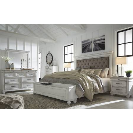 B777 Kanwyn 4PC SETS Queen UPH Panel Storage Bed