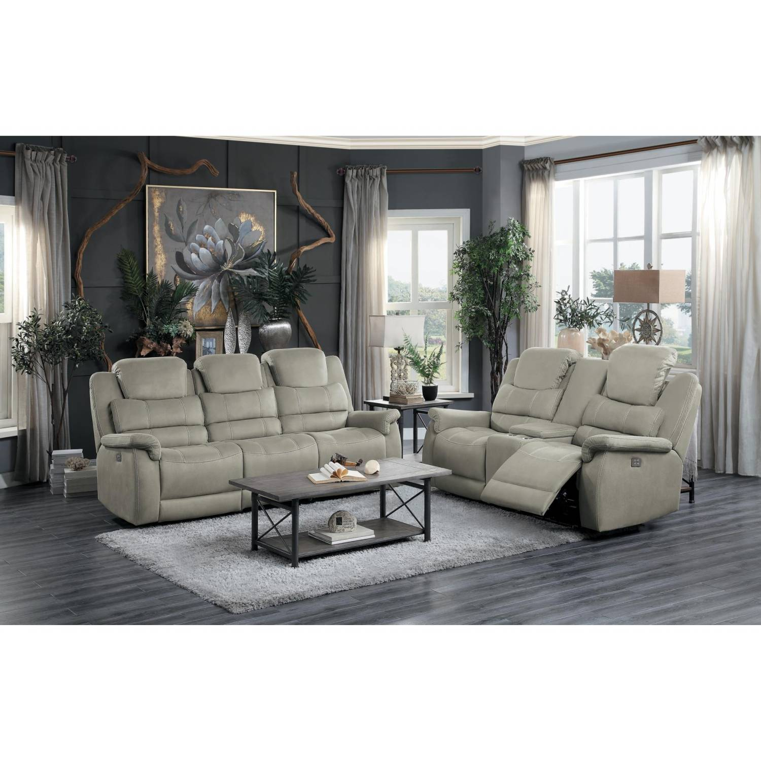 Picture of: 9848gy 2 3 Double Reclining Sofa And Love Seat With Drop Down Cup Holders And Receptacles Shola