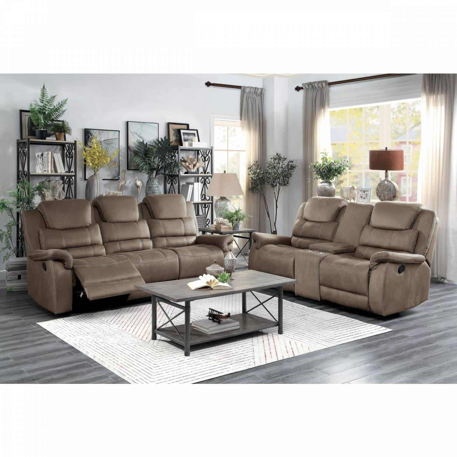 Picture of: 9848br 2 3 Double Reclining Sofa And Love Seat With Drop Down Cup Holders And Receptacles Shola