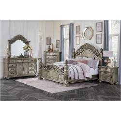 1824PG-CKGr Catalonia California King Bedroom Set - Traditional Platinum Gold Finish with Cherry Veneer
