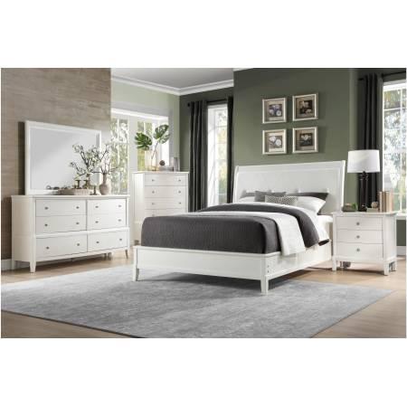 1730WW-CKGr Cotterill California King Bedroom Set - White Finish over Birch Veneer