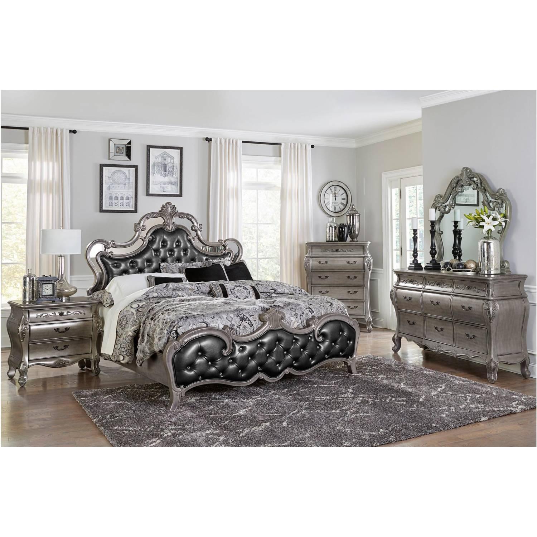 1681k Ckgr Brigette California King Bedroom Set Silver Gray