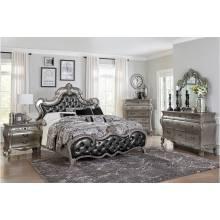 1681K-CKGr Brigette California King Bedroom Set - Silver-Gray