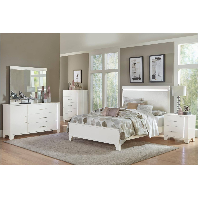 1678WK-EKGr Kerren or Keren Upholstered Eastern King Bedroom Set - White  High Gloss