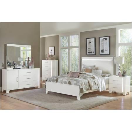 1678WK-CKGr Kerren or Keren Upholstered California King Bedroom Set - White High Gloss