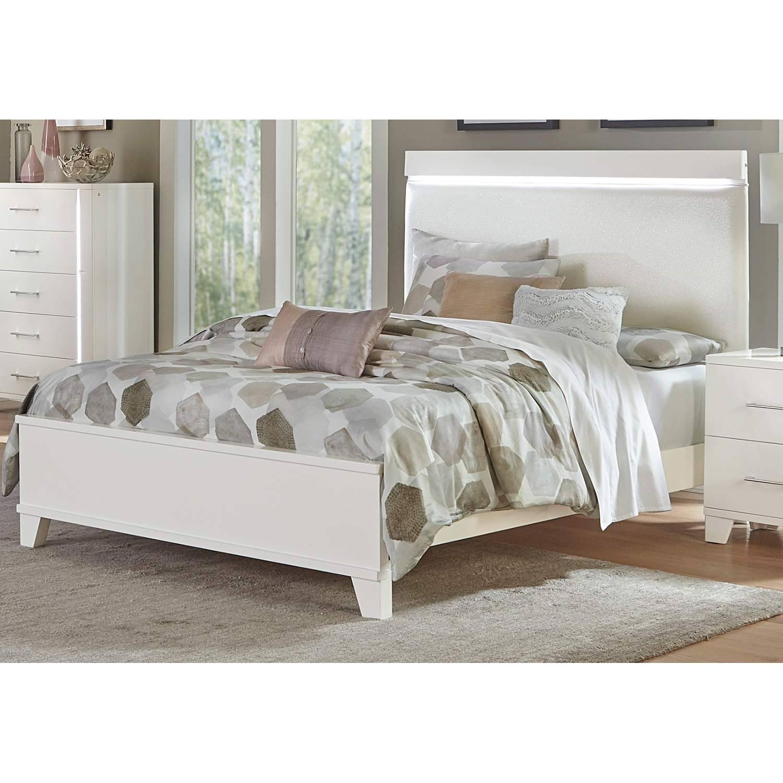 1678w 1 Kerren Or Keren Upholstered Queen Bed With Led Lighting White High Gloss