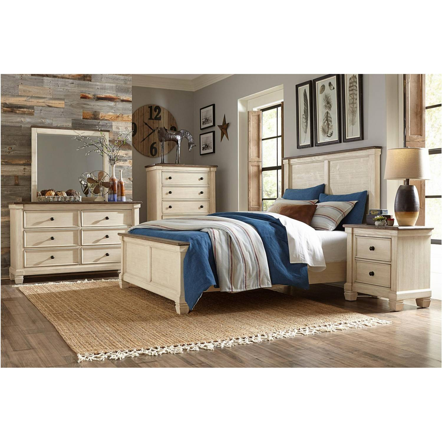 1626-Gr Weaver Queen Bedroom Set - Antique White